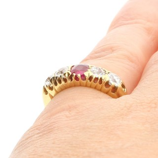 0.82 ct Diamond and Synthetic Ruby, 18 ct Yellow Gold Ring - Antique Circa 1910