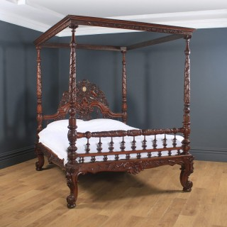 """Antique 5ft 7"""" Victorian Anglo-Indian Colonial Raj King Size Four Poster Bed (Circa 1860)"""