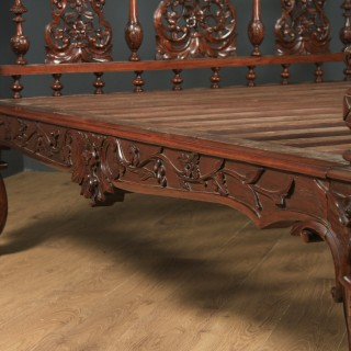 "Antique 5ft 7"" Victorian Anglo-Indian Colonial Raj King Size Four Poster Bed (Circa 1860)"