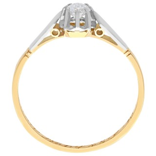 0.22 ct Diamond and 18 ct Yellow Gold Solitaire Ring - Vintage Circa 1940