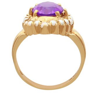 2.51 ct Amethyst and Seed Pearl, 9 ct Yellow Gold Dress Ring - Vintage 1976