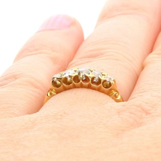 0.66 ct Diamond and 18 ct Yellow Gold Five Stone Ring - Antique Victorian