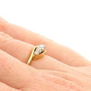 0.22 ct Diamond and 18 ct Yellow Gold, Five Stone Ring - Antique Circa 1920