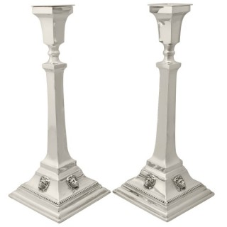 Sterling Silver Candlesticks - Antique George V (1931)