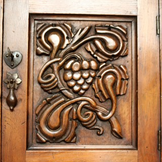 Carved Fruitwood Wall Cabinet