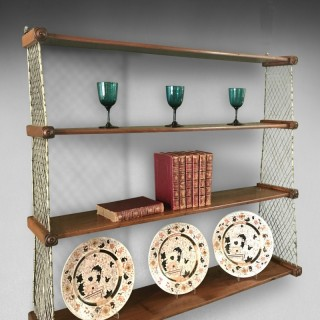 Regency Mahogany and Brass Hanging Shelves