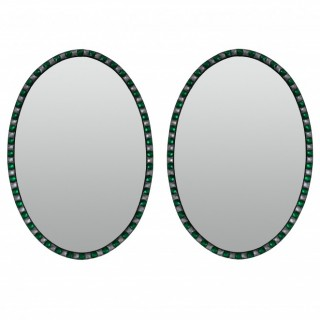 A PAIR OF GEORGIAN STYLE IRISH MIRRORS WITH EMERALD GLASS & ROCK CRYSTAL FACETED BORDER