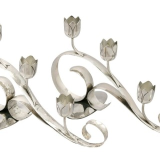 Sterling Silver Three Light Candelabra - Art Nouveau Style - Vintage (1959)