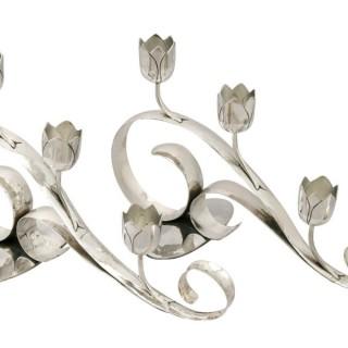 Sterling Silver Three Light Candelabra - Art Nouveau Style - Vintage (1959)