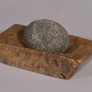 Antique Treen Scandinavian Burr Birch Grinding Mortar and Stone