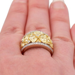 0.50ct Diamond and 18ct Yellow and White Gold Dress Ring - Vintage Circa 1980