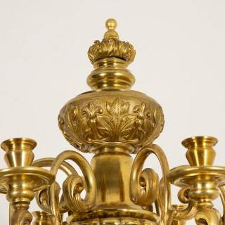 Giltwood & gilt bronze candelabra