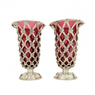 Pair of Antique Edwardian Sterling Silver Vases with Cranberry Glass Liners 1910