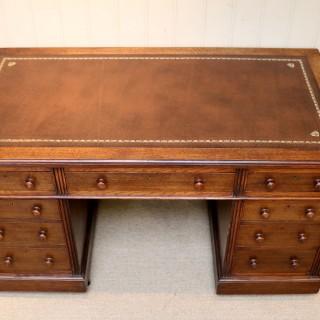 Edwardian Oak Pedestal Desk