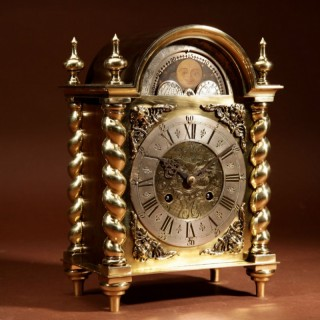A Very Unusual Brass and Brass Patinated Dutch Mantel Clock Circa 1900.