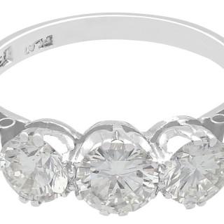 1.70 ct Diamond and 18 ct White Gold Trilogy Ring - Vintage Circa 1940