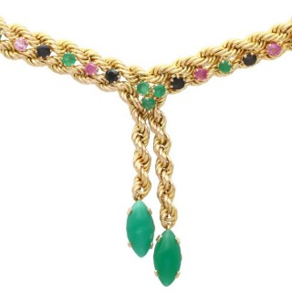 4.5 ct Ruby, 4.18 ct Sapphire, 9.02 ct Chrysoprase and 14 ct Yellow Gold Necklace - Vintage Circa 1990