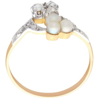 0.30 ct Diamond and Pearl, 18 ct Rose Gold Cocktail Ring - Antique Circa 1900