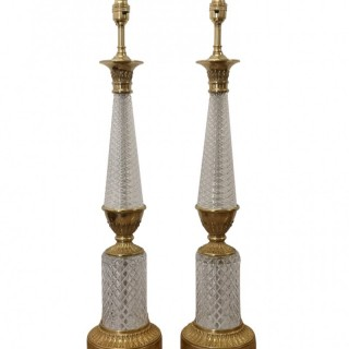 EARLY 20TH CENTURY FRENCH CRYSTAL AND GILT BRONZE LAMPS