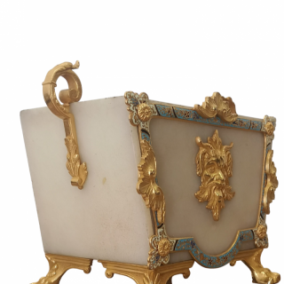 LATE 19TH CENTURY FRENCH ONYX AND CHAMPLEVE JARDINIERE