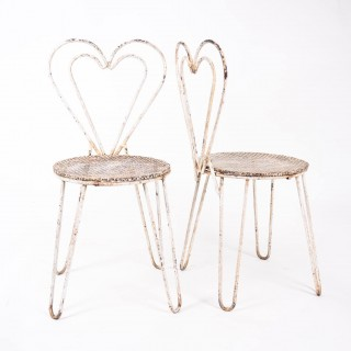 Pair of Mid Century Matégot style Heart Shaped Terrace Chairs