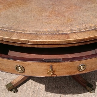 Early 19th Century Mahogany Antique Drum Library Table