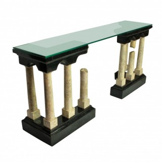 AN EXCEPTIONAL MARBLE CONSOLE TABLE DEPICTING ROMAN RUINS