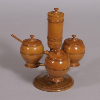 Antique Treen Late Victorian Boxwood Cruet Stand