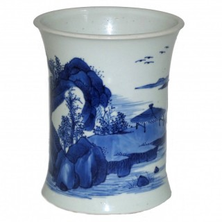 Kangxi Blue and White Porcelain Brush Pot