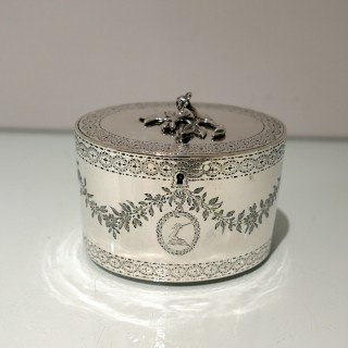 George III Sterling Silver Oval Tea Caddy London 1776 John Carter