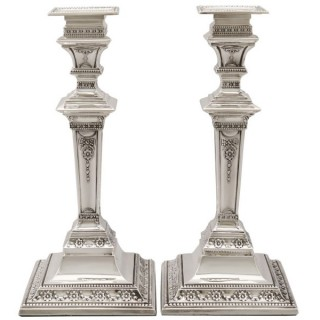 Sterling Silver Candlesticks - Antique Edwardian (1901)