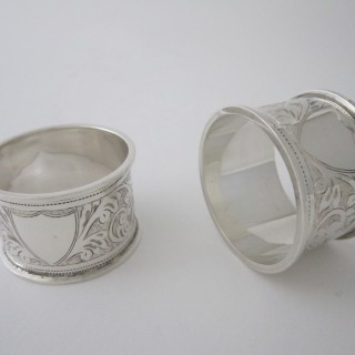 Pair of Antique George V Sterling silver napkin rings