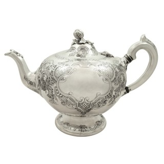 Antique Victorian Scottish Sterling Silver Teapot 1862