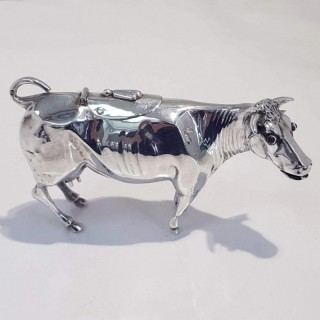 Antique Silver Cow Creamer