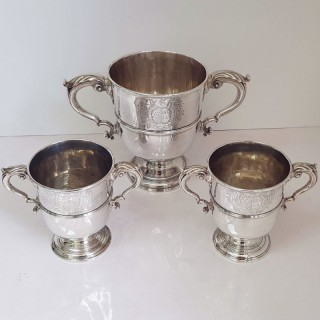 Set Of 3 Antique Silver Cups