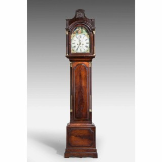 19th Century Mahogany Painted Dial Longcase Clock