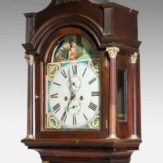19th Century Mahogany Painted Dial Longcase Clock