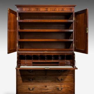 George III Period Mahogany Secretaire Clothes Press