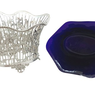 Antique Victorian Sterling Silver with Blue Glass Liner Bowl / Dish 1899