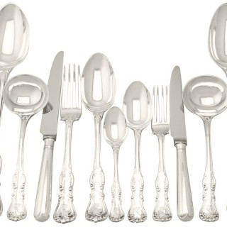 Sterling Silver Canteen of Cutlery for Twelve Persons by George Adams - Antique Victorian (1850)