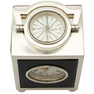 Sterling Silver Travelling Clock/Compass - Antique Victorian