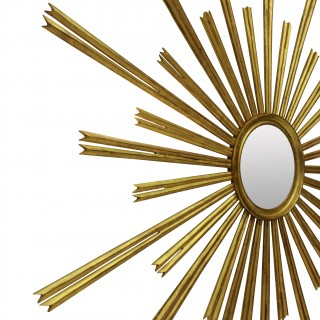 AN OVERSCALE 30'S FRENCH GILT WOOD SUNBURST MIRROR