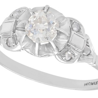 0.72 ct Diamond and Platinum Solitaire Ring - Antique Circa 1910