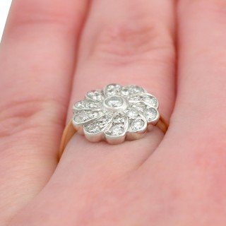 0.68 ct Diamond and 14 ct Yellow Gold Cluster Ring - Vintage Circa 1940