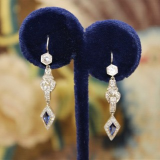 A pair of Sapphire and Diamonds Earrings, Circa 1950