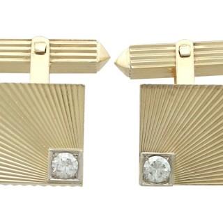 0.52 ct Diamond and 18 ct Yellow Gold Cufflinks - Vintage Circa 1960