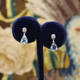 A fine pair of Aquamarine and Diamond Earrings, Pre-owned