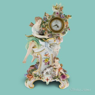Meissen Mythological flower-encrusted clock, c.1880