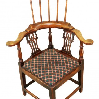 Rare 18th Century English Walnut Country High Back Corner Armchair