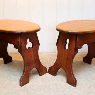 Pair Of Oak Stools/Tables